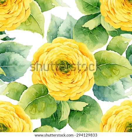Floral pattern. Watercolor seamless background. Yellow ranunculus. Vector illustration - stock vector