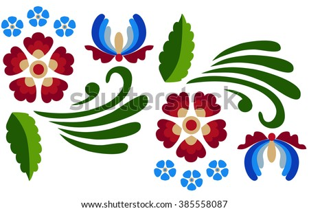 Floral pattern with abstract scandinavian flowers -  based on traditional folk ornaments.  Vector illustration. - stock vector