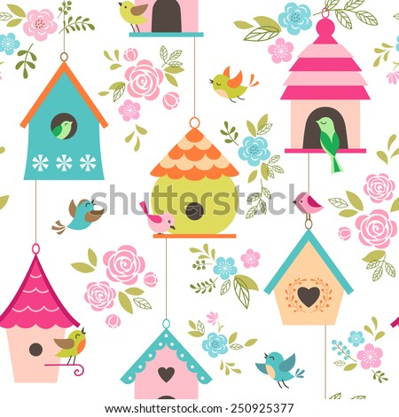 Floral pattern with birds and bird houses. - stock vector