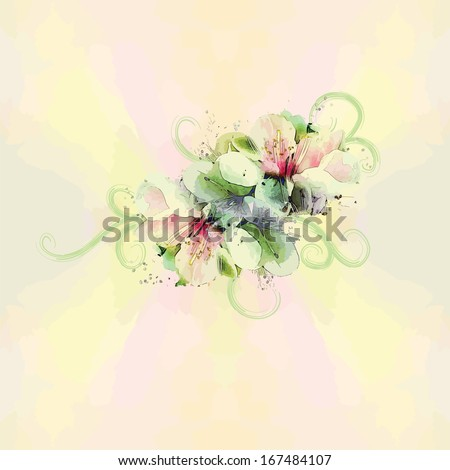 Floral pattern with bouquet on watercolor background in pastel colors - stock vector