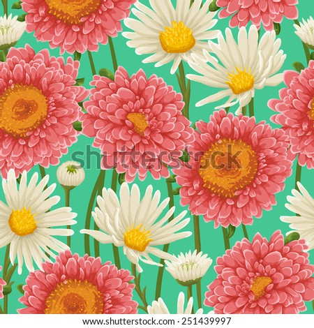 Floral pattern with chamomiles and other flowers - stock vector