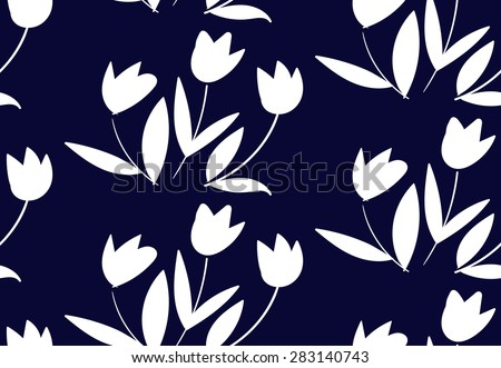 Floral pattern with small white tulips on dark blue background. Seamless vector texture for print, spring summer fashion, textile design, fabric, home decor, flower shop website, wallpaper - stock vector