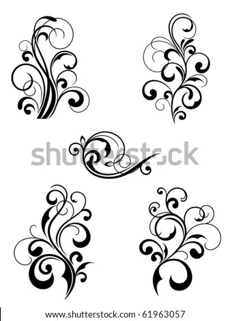 Floral patterns for design isolated on white. Jpeg version also available - stock vector