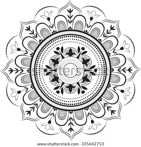 Floral patterns in the circle - stock vector