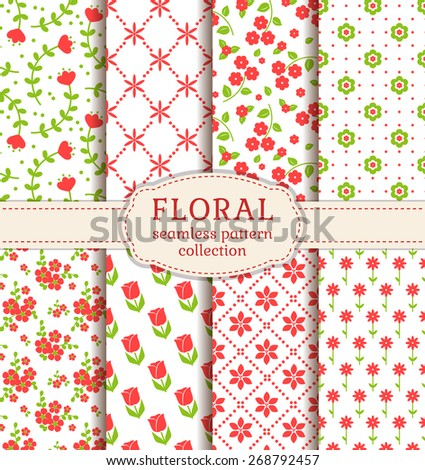 Floral patterns in white, pink and green colors. Collection of seamless backgrounds with different flowers. Vector set. - stock vector