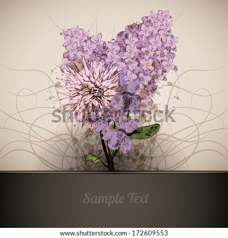 Floral Postcard - stock vector