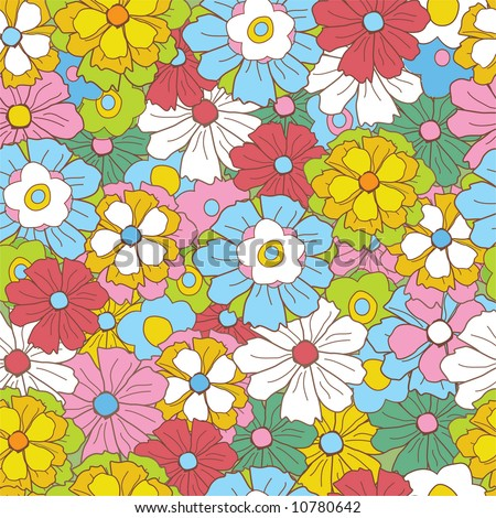floral retro pattern - stock vector