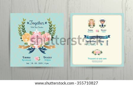 Floral roses wreath wedding cartoon bride and groom couple invitation card on net background - stock vector