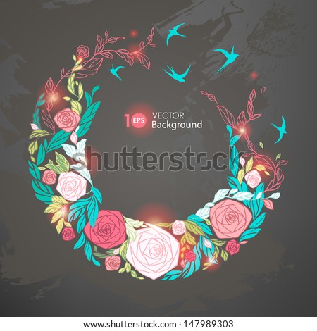 Floral round frame. ?bstract floral background. Vector illustration. EPS 10. - stock vector