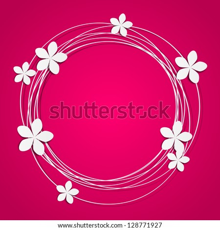 Floral round frame with place for text - stock vector