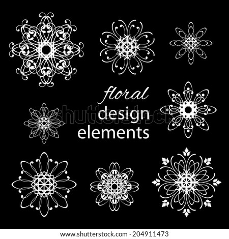 Floral rounded white design elements set collections isolated on black background. Vector illustration.  - stock vector
