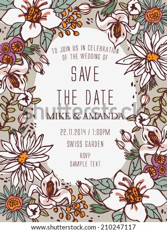 Floral Save the Date - Botanical Blooms - stock vector