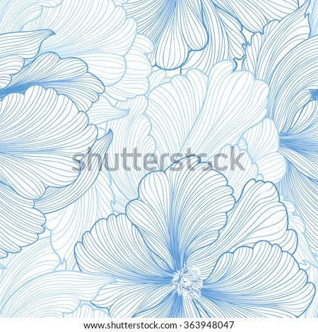 Floral seamless background. Vector pattern with beautiful peony flower. Gentle flourish background. Seamless patterns can be used in textile design, postcards, calendars, websites, wallpapers - stock vector