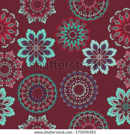 Floral seamless ornamental texture, endless pattern with flowers looks like retro snowflakes or snowfall. - stock vector