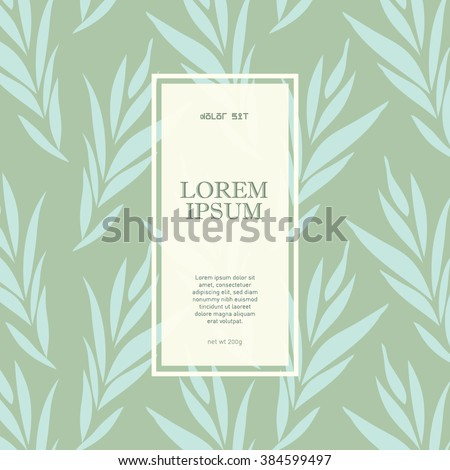 Floral seamless pattern design/ Label design with floral background/ Abstract background/ Vintage frames design/ Polygon label with floral elements/ Textile pattern/ Fashion label/ Skin care packaging - stock vector