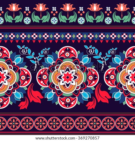 Floral seamless pattern. Ethnic border ornament - stock vector