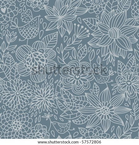 Floral seamless pattern in blue - stock vector