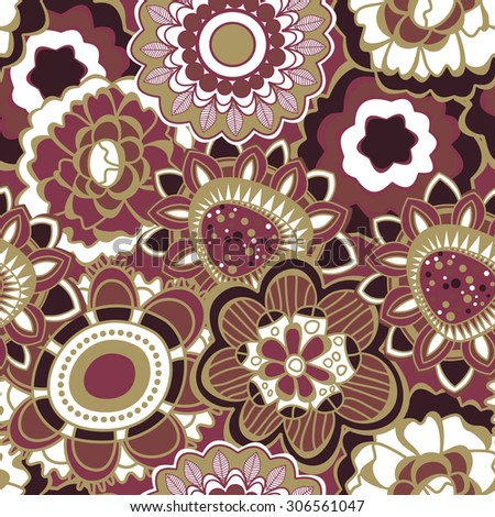 Floral seamless pattern in trendy marsala colors - stock vector