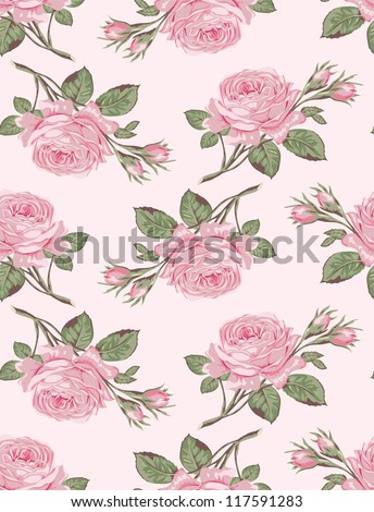 Floral seamless pattern. Shabby chic rose background for scrapbooking - stock vector
