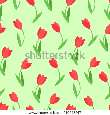 Floral seamless pattern. Summer endless backdrop, with tulips flowers. Can be used for wallpaper, fills, web page background, surface textures. Easy to edit. Vector illustration - EPS10. - stock vector
