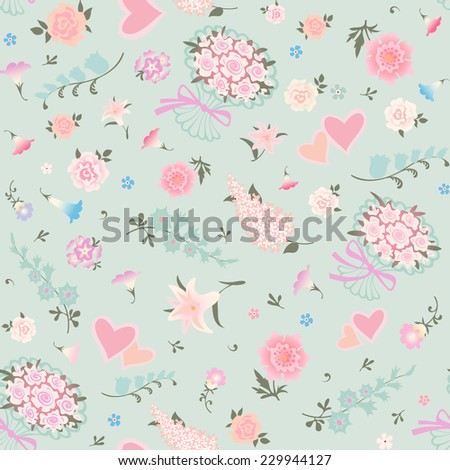 Floral seamless pattern. Vector background with various flowers and bouquets of roses.  - stock vector