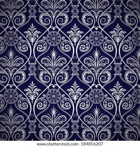 Floral Seamless Pattern Vector Damask Style - stock vector