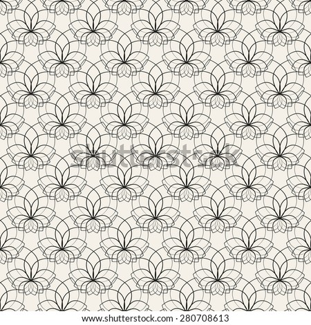 Floral seamless pattern. Vector illustration for beautiful design. Endless texture for textile. Black and white colors. Can be used for wallpaper, pattern fill, web page background, surface. - stock vector