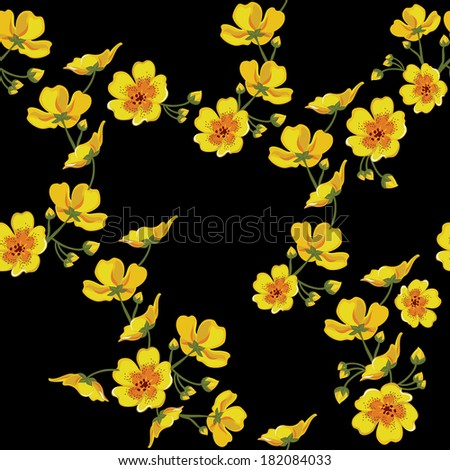 Floral seamless pattern with beautiful flowers. Vector illustration. - stock vector