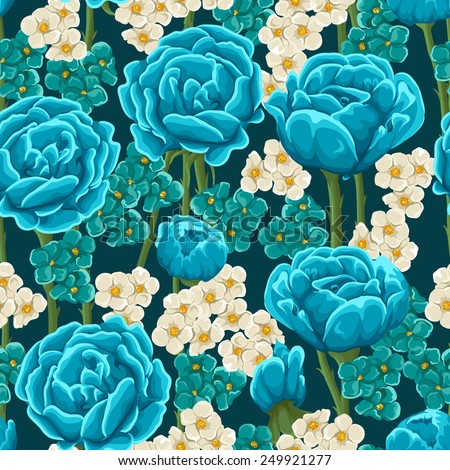 Floral seamless pattern with blue roses - stock vector