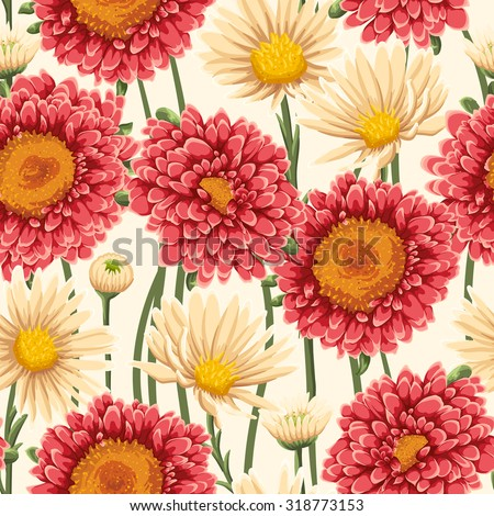 Floral seamless pattern with chamomiles, asters and daisies on light beige background. Watercolor style. - stock vector