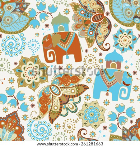 Floral seamless pattern with decorative flowers and elephants - stock vector