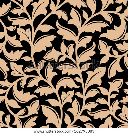 Floral seamless pattern with flourish elements in retro style - stock vector