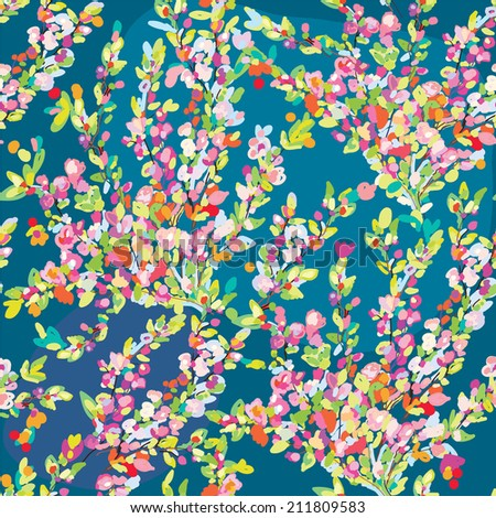 Floral seamless pattern with hand drawn blossom flowers for spring or summer - stock vector