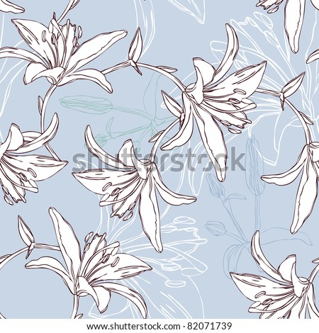 floral seamless pattern with lily - stock vector