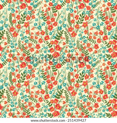 Floral seamless pattern with lot of small flowers and leaves. - stock vector