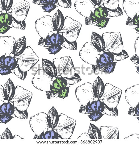 Floral seamless pattern with orchids. - stock vector