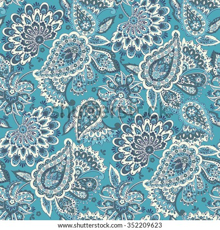 Floral seamless pattern with paisley ornament. Vector illustration in Asian textile style - stock vector