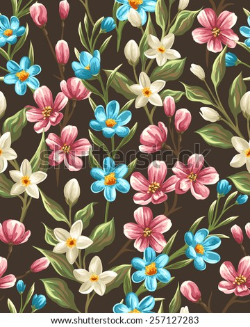 Floral seamless pattern with spring pink, beige and blue flowers - stock vector