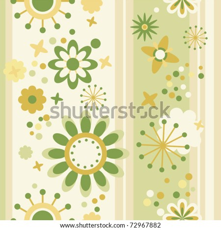 floral seamless striped wallpaper in green and yellow - stock vector