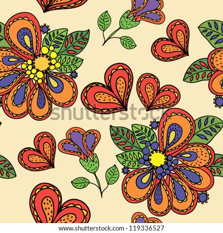 Floral seamless vector background - stock vector