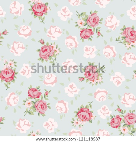 Floral seamless vintage pattern. Shabby chic rose background for you scrapbooking. - stock vector