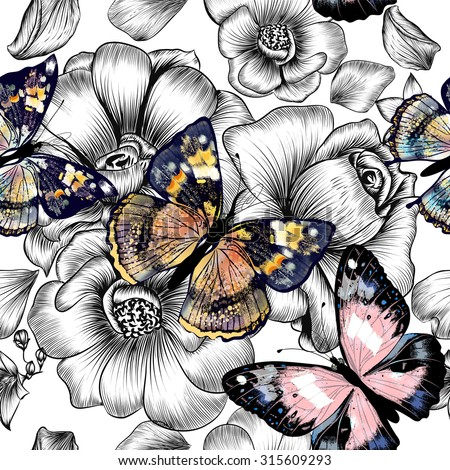 Floral seamless wallpaper pattern with engraved hand drawn flowers and colorful butterflies - stock vector