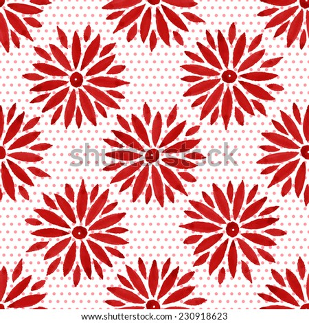 Floral seamless watercolor pattern, bright red flowers and small circles on a white background.  - stock vector