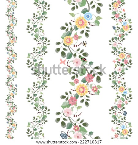 floral set seamless borders for your design - stock vector