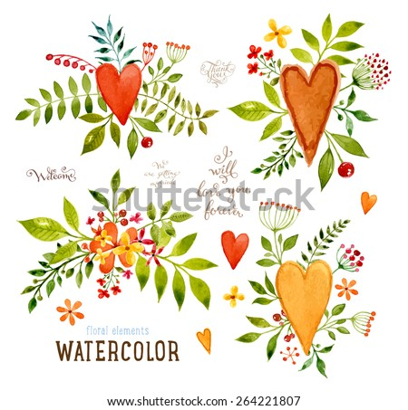Floral Set with Watercolor Flowers for Summer or Spring Cards, Invitations, Flyers, Banners or Posters Design. Aquarelle Flowers, Hearts and Leaves Collection for Greeting and Wedding Cards - stock vector
