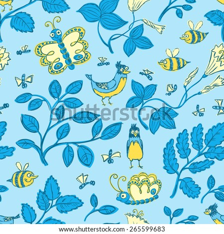 Floral sketchy seamless background with birds - stock vector