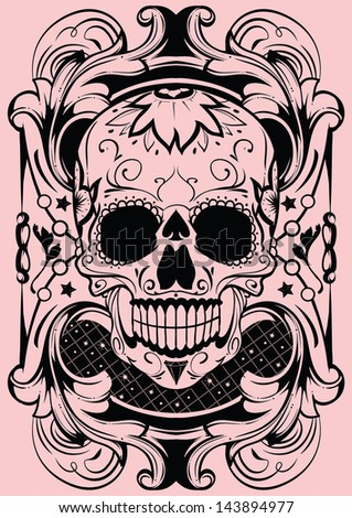 Floral skull - stock vector