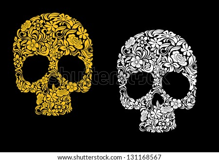 Floral skull in retro style for ecology concept design. Jpeg (bitmap) version also available in gallery - stock vector