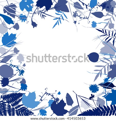 floral square frame wreath of flowers, natural design leaves flowers elements. Spring summer design for invitation, wedding greeting cards. Navy steel blue indigo silhouette, white background. Vector - stock vector