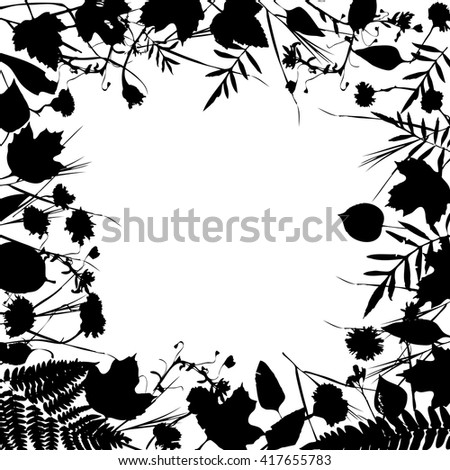 floral square frame wreath of flowers, natural design with leaves and flowers elements. Spring summer design for invitation, wedding or greeting cards. Black silhouette, white background. Vector - stock vector